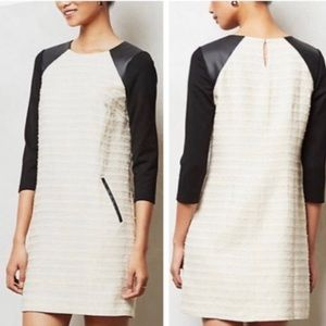 Anthro Moulinette Soeurs Tweed Dress Cream Black 2